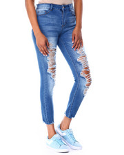 Bottoms - Ripped Raw Edge High Rise Skinny-2425483
