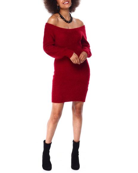 Almost Famous - L/S Eyelash Off Shoulder Mini Dress