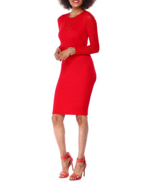 Almost Famous - Ribbed Jewel Nk Midi Dress W/ Illusion Slv