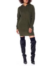 Casual - Chunky Sweater Stitch Mini Dress W/ Hood-2431105
