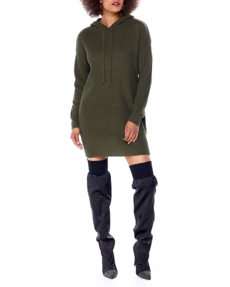 Almost Famous - Chunky Sweater Stitch Mini Dress W/ Hood