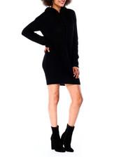 Dresses - Chunky Sweater Stitch Mini Dress W/ Hood-2431095