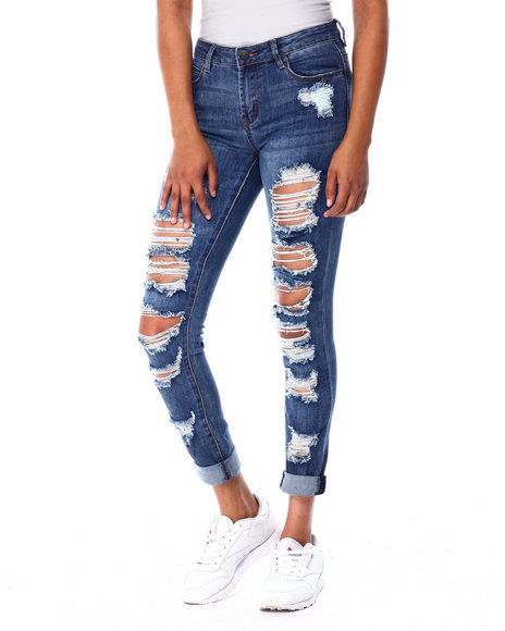 Almost Famous - Destructed Roll Cuff Jean