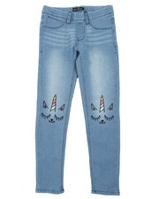 Jeans - Pull-On Denim Jeggings W/ Knee Embroidery (7-16)-2431194