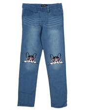 Jeans - Pull-On Denim Jeggings W/ Knee Embroidery (7-16)-2431201