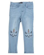 Bottoms - Pull-On Denim Jeggings W/ Knee Embroidery (4-6X)-2431184