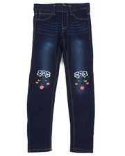 Jeans - Pull-On Denim Jeggings W/ Knee Embroidery (7-16)-2431149