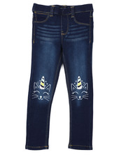 Bottoms - Pull-On Denim Jeggings W/ Knee Embroidery (4-6X)-2431168