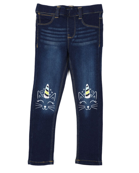 Delia's Girl - Pull-On Denim Jeggings W/ Knee Embroidery (4-6X)
