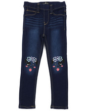 Bottoms - Pull-On Denim Jeggings W/ Knee Embroidery (4-6X)-2431163