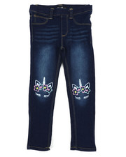Bottoms - Pull-On Denim Jeggings W/ Knee Embroidery (4-6X)-2431491