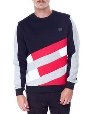Makobi - Colorblock Fleece Crewneck Sweatshirt-2431837