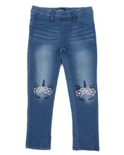 Bottoms - Pull-On Denim Jeggings W/ Knee Embroidery (4-6X)-2431516