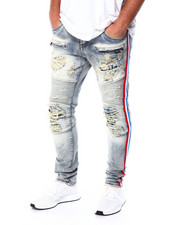 Preme - Bleach Distressed Moto w REd and Blue Taping-2432092