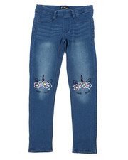 Jeans - Pull-On Denim Jeggings W/ Knee Embroidery (7-16)-2431551