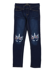 Jeans - Pull-On Denim Jeggings W/ Knee Embroidery (7-16)-2431521