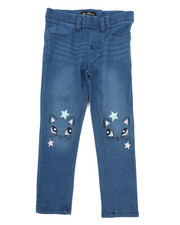 Bottoms - Pull-On Denim Jeggings W/ Knee Embroidery (4-6X)-2431534