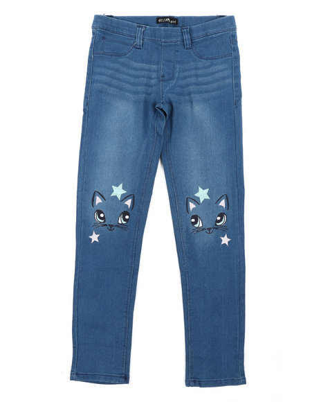 Delia's Girl - Pull-On Denim Jeggings W/ Knee Embroidery (7-16)