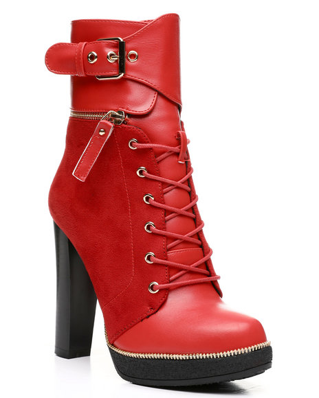 Fashion Lab - Chunky Heel Lace-Up Boots