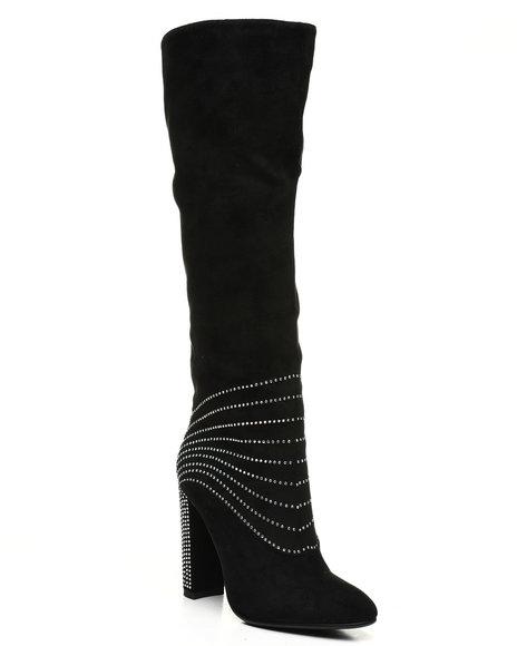 Fashion Lab - Calf Length Boots W/ Diamonds