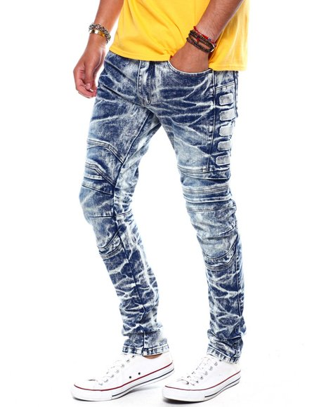 SMOKE RISE - Frosty Blue Articulated Knee Jeans