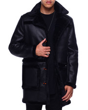 Mens-Holiday - Peak Lapel Faux Shearling Overcoat-2433025