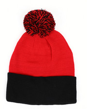 Mens-Winter - Colorblock Beanie With Pom -2433218