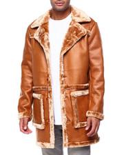 Heavy Coats - Peak Lapel Faux Shearling Overcoat-2434159
