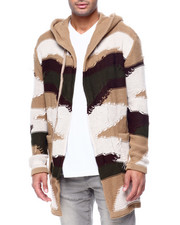 Mens-Holiday - Abstract Distressed Shawl Collar Zip Up Sweater Jacket-2434102