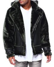 Heavy Coats - Shearling Sleeve Moto Jacket w Faux Fur Hood-2434137