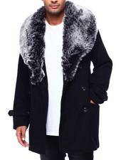 SMOKE RISE - Double Breasted Faux Fur Collar Overcoat-2434181