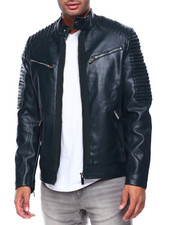 Leather Jackets - Pu Bomber w Ribbed Sleeves-2434152