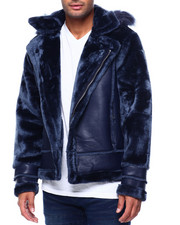 Mens-Winter - Shearling Sleeve Moto Jacket w Faux Fur Hood-2434194