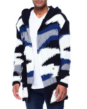 Mens-Holiday - Abstract Distressed Shawl Collar Zip Up Sweater Jacket-2434079