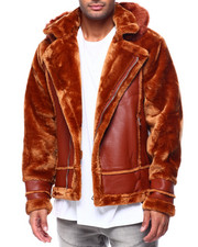 Mens-Winter - Shearling Sleeve Moto Jacket w Faux Fur Hood-2434166