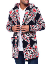Mens-Holiday - Diamond Shawl Collar Zip Up Sweater Jacket-2434096