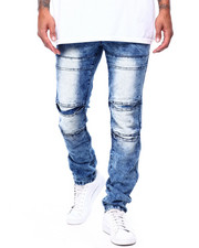 Men - Pleat Knee Moto Jean-Sand Blue-2433634