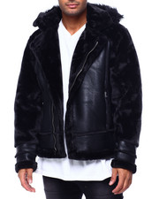 Men - Shearling Sleeve Moto Jacket w Faux Fur Hood-2434201