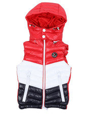 Outerwear - Color Block Puffer Vest W/ Hood (4-18)-2431418