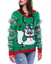 Ugly Christmas Shop - Light Up Cat Vnk Christmas Sweater-2433472