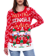 Ugly Christmas Shop - All The Jingle Ladies Photo Insert L/S Sweater Tunic-2433466