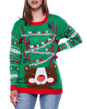 Ugly Christmas Shop - Christmas Drop Shoulder L/S Pullover Sweater-2433482