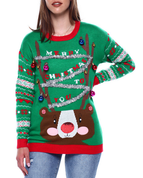 Fashion Lab - Christmas Drop Shoulder L/S Pullover Sweater