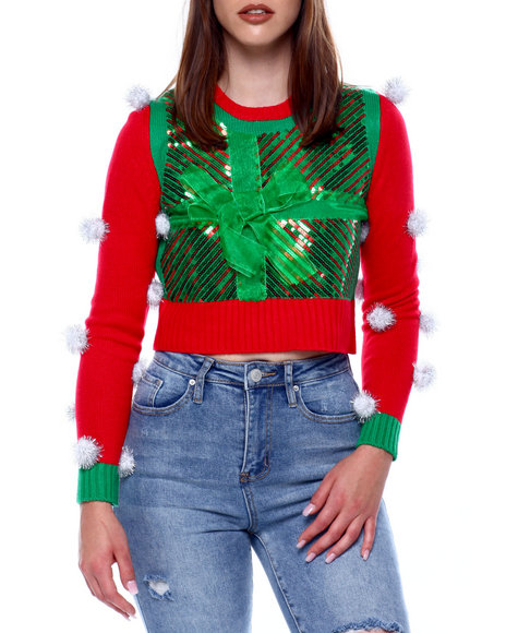 Fashion Lab - Christmas Bow L/S Crew Nk Pullover