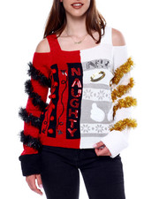 Ugly Christmas Shop - Naughty/Nice Off Shoulder L/S Pullover Sweater-2433422
