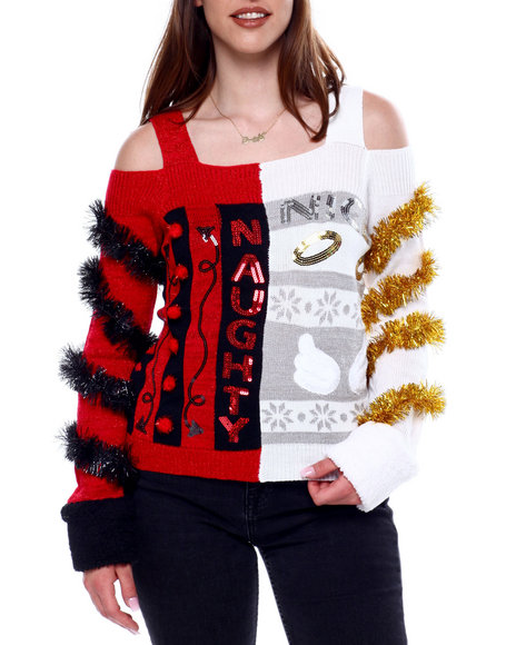 Fashion Lab - Naughty/Nice Off Shoulder L/S Pullover Sweater