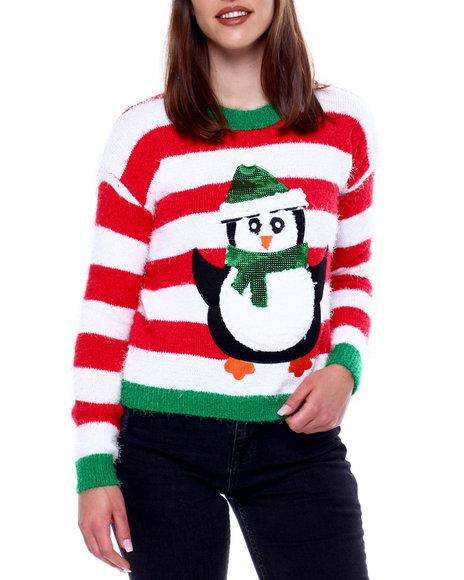 Fashion Lab - Stripe Penguin Christmas Sweater