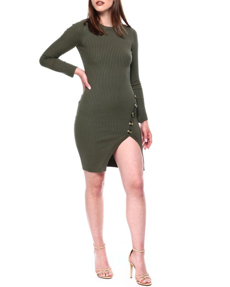 DEREK HEART - Rib L/S Slit Frt Dress W/Horn Buttons