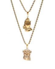 Jewelry & Watches - Prayer Hands & Jesus Double Rope Necklace-2434654