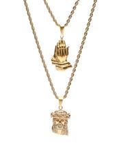 Men - Prayer Hands & Jesus Double Rope Necklace-2434654